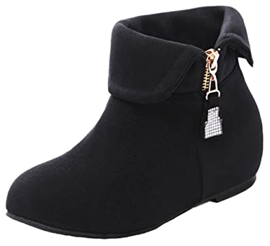Women's Cute Comfy Zip Up Fold Round Toe Collar Booties Elevator Low Heels Ankle Boots With Zipper