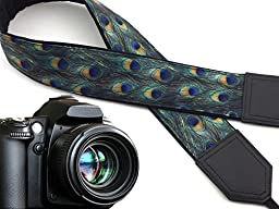 Peacock camera strap. Black and dark green tracery camera strap. DSLR / SLR Camera Strap. Durable, light weight and well padded camera strap. code 00131
