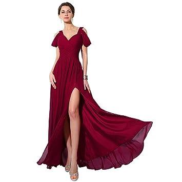 Slim Sexy V Cuello Halter Largo Vestido De Noche Rojo Vino