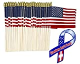 "Lot of -50- 4×6 Inch Mini American Stick Flags with Spear Top and 1 ""Freedom Isn't Free"" 8″ Ribbon Bonus Magnet For Sale"