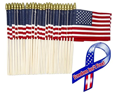 """Lot of -50- 4×6 Inch Mini American Stick Flags with Spear Top and 1 """"Freedom Isn't Free"""" 8″ Ribbon Bonus Magnet For Sale"""