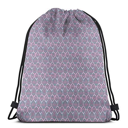 Unisex Drawstring Bag Gym Bags Storage Backpack,Hand-Drawn Henna Mehndi Floral Elements In Batik Style Oriental Droplet Figures