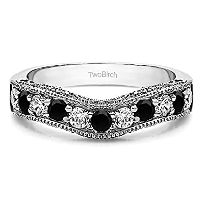 Black&White Diamonds (H,I2) Vintage Wedding Band In 10k White Gold(1Ct)Size 3 To 15 in 1/4 Size Interval for sale