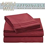 Anili Mili's Triple Stitch Embroidery Affordable 4 PC Bed Sheet Set - Queen Size, Burgundy Red