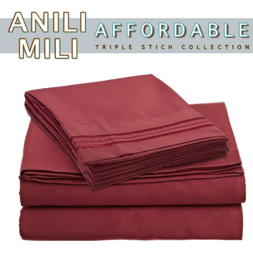 Anili Mili's Triple Stitch Embroidery Affordable 4 PC Bed Sheet Set - Full Size, Burgundy Red