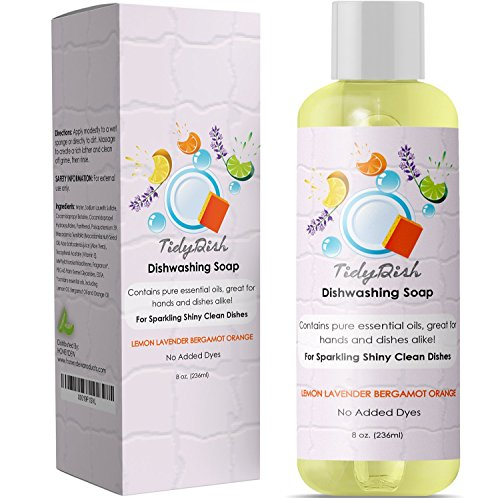Lavender Dishwashing Bergamot (Liquid Dish Soap for Home and Kitchen Dishes - Natural Dishwashing Detergent with Lemon + Orange - Lavender + Bergamot Moisturize Hands - Remove Grease + Grime from Pots Pans + Tableware - Dye Free)