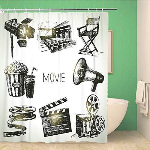 Awowee Bathroom Shower Curtain Camera Movie and Film Vintage Sketch Cinema Production Popcorn 60x72 inches Waterproof Bath Curtain Set with Hooks
