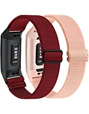 2 Pack Adjustable Elastic Bands Compatible for for Fitbit Charge 4 / Fitbit Charge 3 / Fitbit Charge 3 SE, Soft Stretchy Nylon Wristband Strap Replacement for Women Men