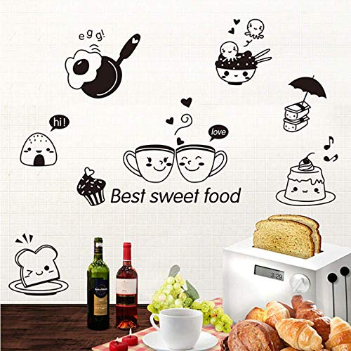 JQSM 2019 Kitchen Wall Stickers Coffee Sweets DIY Wall Art Decal Decoration Oven Restaurant Wallpaper PVC Wall Decals 20X30CM