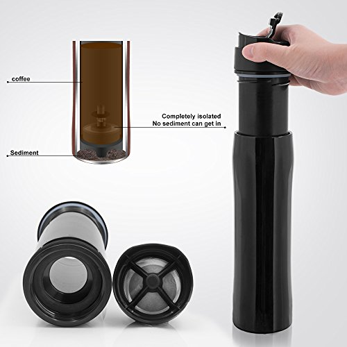 BRBHOM 12oz French Press Travel Mug Coffee Maker Stainless Double Wall Camping Black