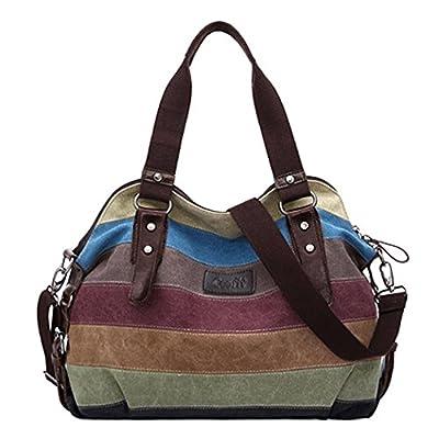 Coofit Stripe Leisure Canvas Top Handle Cross Body Bag Tote Handbags for Women