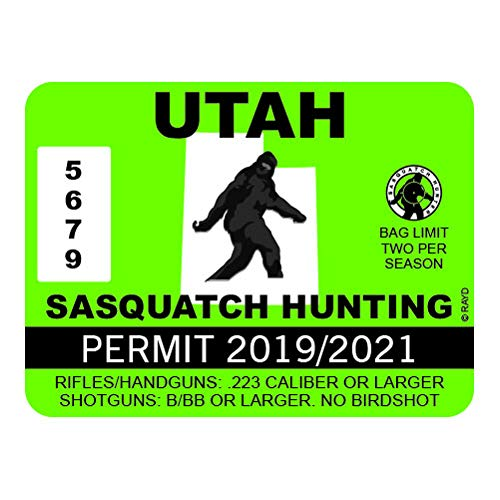 "RDW Utah Sasquatch Hunting Permit - Color Sticker - Decal - Die Cut - Size: 4.00"" x 3.00"""