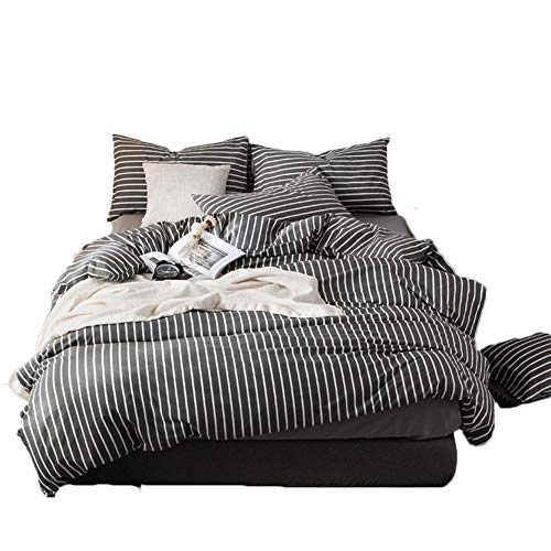 CLOTHKNOW Striped Duvet Cover Set Gray White Vertical Bedding Set Full Queen Ticking Comforter Cover Set 100 Cotton 3 Pieces -with 2 Envelope Pillowcases Zipper Closure