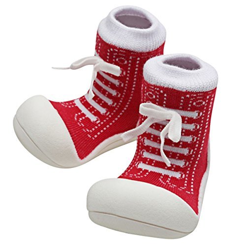Attipas Best First Walker Shoes Baby Cotton Socks Shoes Non Toxic Safe Great Baby Registry Gifts (US Toddler 4.5, Sneakers Red) ()