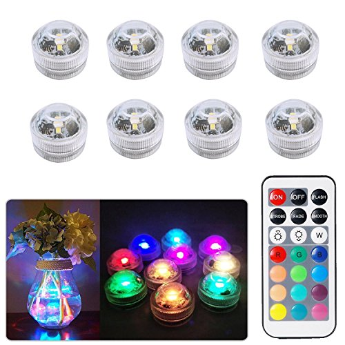 Sxstar 8pcs Submersible LED Lights,Waterproof Underwater Lights,Battery Powered Pool Lights,Multi-color RGB Tea Lights with IR Remote Control for vase, bowls, aquarium and party decoration
