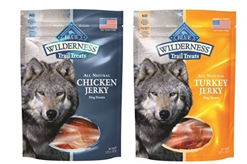 Blue Buffalo Wilderness Trail Treats All-Natural Grain Free Jerky 2 Flavor Variety Bundle: (1) Blue Wilderness Trail Treats Chicken Jerky, and (1) Blue Wilderness Trail Treats Turkey Jerky, 3.25 Oz. Ea. (2 Bags Total) ()