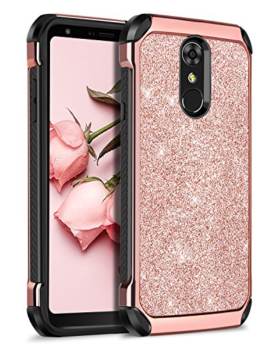 (LG Stylo 4 Case,LG Stylo 4 Plus Case, LG Q Stylus Case,BENTOBEN 2 in1 Dual Layer Shockproof Glitter Bling Sparkly Hard PC Cover Soft TPU Bumper Protective Phone Case Cover for Girls Women, Rose Gold)