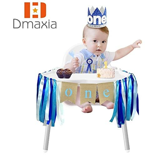 Durable Service Dmaxia One First Birthday Banner Badge Crown Decorations Set For Baby Boy Garland Ribbon