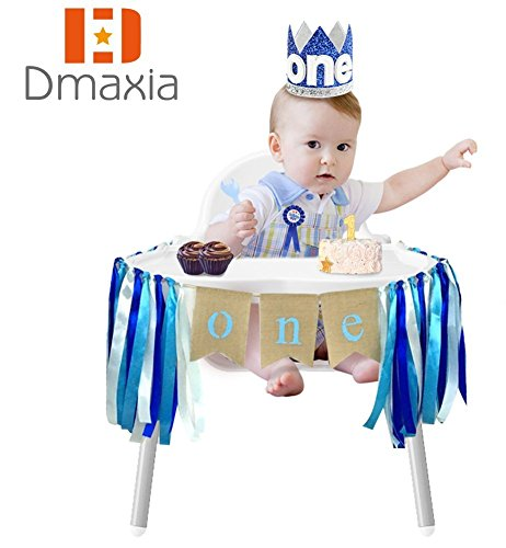 Dmaxia One First Birthday Banner Badge Crown Decorations Set for Baby Boy Garland Ribbon Decoration Baby Shower Bunting Burlap Highchair Celebration Tool(Blue - Badge Blue Tool