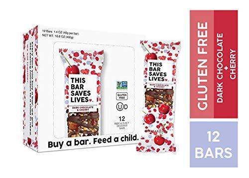 Gluten Free Healthy Granola Snack Bar, Dark Chocolate Cherry, 12 Bars, 1.4 oz; Breakfast Bars by This Saves Lives