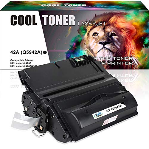 Cool Toner 1 Pack 10,000 Pages Compatible Toner Cartridge Replacement for Q5942A Q5942 42A Q1338A Used for Laserjet 4200 4240 4250 4250TN 4250N 4250DTN 4300 4350 4345MFP 4350N 4350TN 4350DTN ()