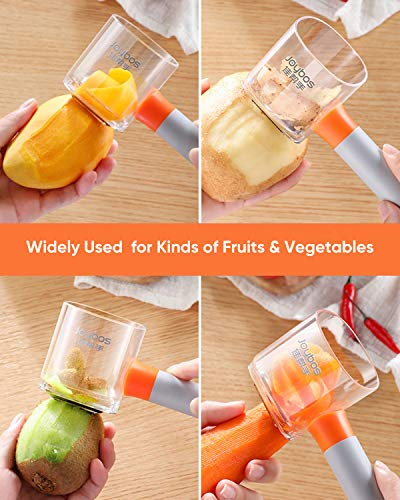 JOYBOS Peelers for Kitchen with Container, Chopper for Potato, Carrot, Fruit, with Ergonomic Non-Slip Handle, Pretty Housewarming Gift, Multifunctional Peeler for Making Citrus Garnishes for Drinks