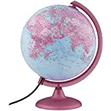 Pink Continental Kids Globe - 100's of UP-TO-DATE Political Boundaries, Named Places & Points of Interest - Pink Landmass Shadings - Illumination for Enhanced Viewing or Night Light - Perfect for Kids