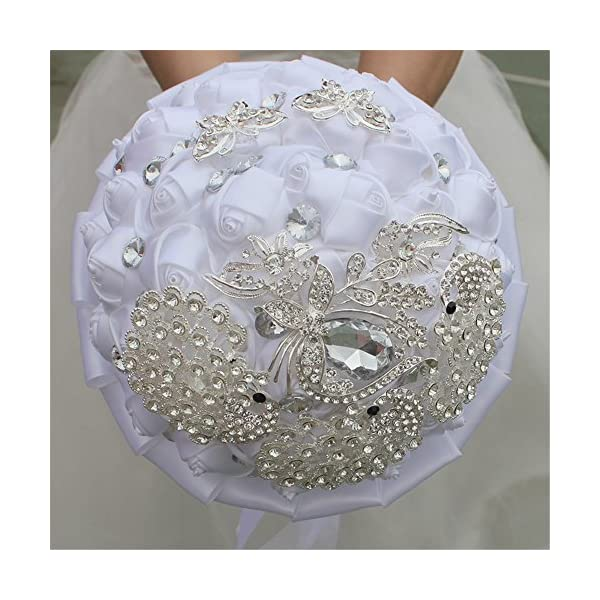 USIX Handcraft Luxury Crystal Rhinestone Peacock Butterfly Satin Rose Brooch Bridal Holding Wedding Bouquet Wedding Flower Arrangements Bridesmaid Bouquet(White)