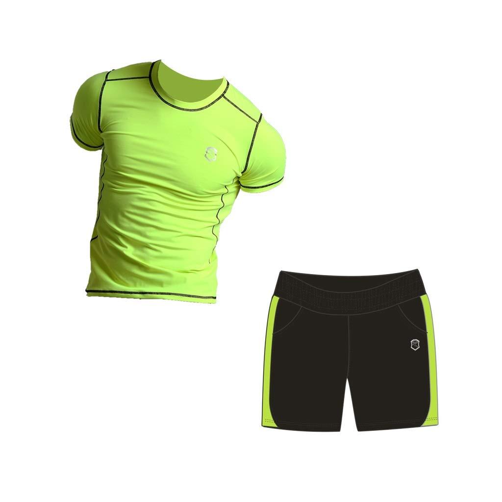 Trainingsanzug Fluoreszierender grüner Fitnessanzug Herren Sommer schnell trocknende Strumpfhose Sport Laufbekleidung Gym Sportanzug Kurzarm Shorts