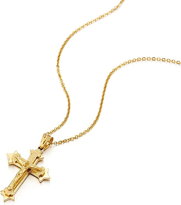 COOLSTEELANDBEYOND Trois Couches J/ésus Christ Croix Crucifix Pendentif Collier Homme Acier Or Argent avec 60CM Cha/îne de Boule