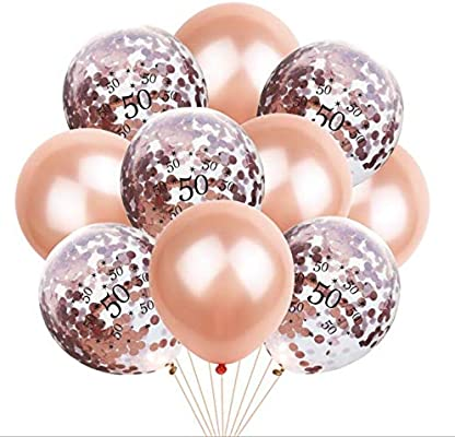 50th Birthday Balloon Decoration Crown Set Romantic Party Package Sequin Rose Gold Latex Bag