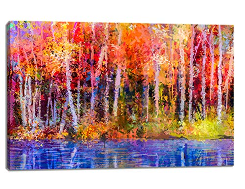 KALAWA Oil Painting Canvas Wall Art Colorful Autumn Trees Semi Abstract Image of Forest Aspen Trees with Yellow for Living Room Stretched and Framed Ready to Hang(24''W x 36''H) ()