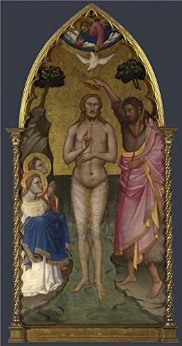 Arrow Amish Bar Stool (Oil Painting 'Niccolo Di Pietro Gerini-The Baptism Of Christ,probably 1387' 8 x 15 inch / 20 x 39 cm , on High Definition HD canvas prints is for Gifts And Dining Room, Laundry Room And Living decor)