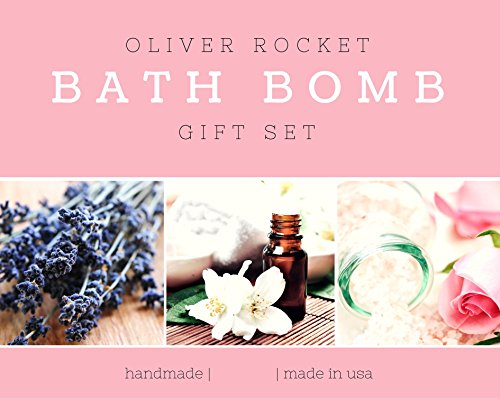 Bath Bombs Set - 6 Extra Large Size, 4.5 Ounce Per Scent - Lavender, Cucumber Melon, Moonlight Rose, Grapefruit Tangerine, Black Raspberry Vanilla and Cool Water, Aromatherapy Bath, By Oliver Rocket