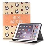 Hulorry 2018 iPad 9.7 Case with Pencil Holder, Protective Case with Pencil Holder & Card Slots Heavy Duty Cover Cartoon Folio Case Lightweight Cover for iPad Air/Air 2/2017&2018 New iPad 9.7''