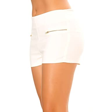 1b88f5de08 Miss Wear Line - Mini Short Blanc à Zip fantaisies: Amazon.de ...