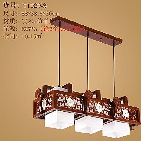 Estilo chino chino sólido madera salón lámparas de techo luz ...