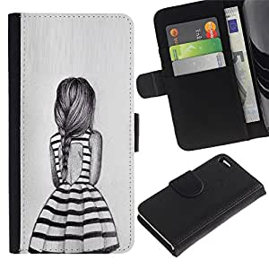 iBinBang / Flip Funda de Cuero Case Cover - Chica Cola de caballo Diseño de Moda - Apple Iphone 4 / 4S