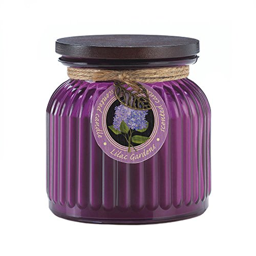 Zingz and Thingz Lilac Gardens Ribbed Jar Candle