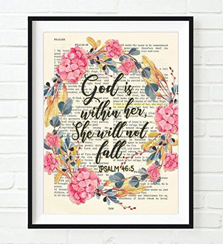 God is within her, She will not fall- Psalm 46:5 ART PRINT, UNFRAMED, Vintage Bible page verse scripture -floral Christian Wall art decor poster, 8x10 ()