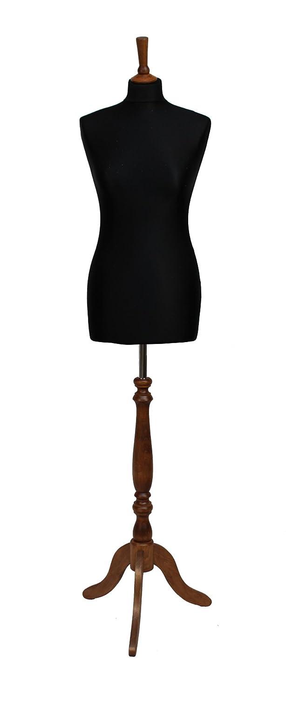 Manichino nero da sarta con busto femminile, rivestimento in jersey nero, con treppiedi in legno di rose indiano, taglia 44/46 The Shopfitting SHop