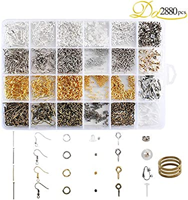 2880Pcs Jewelry Making Findings Supplies Kit with Open Jump Rings Lobster Clasps