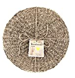 Cork & Leaf Rustic Decorative Round Dinnerware Seagrass Charger Plates for Kitchen, Dining - All Seasons, Housewarming, Natural Hand Woven Seagrass Placemats for Dining Table 12.5 Inch (Set of 12)