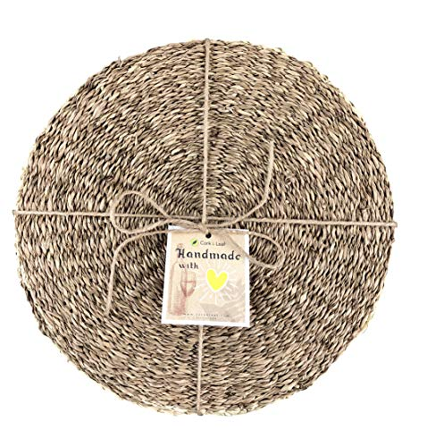 Cork & Leaf Rustic Decorative Round Dinnerware Seagrass Charger Plates for Kitchen, Dining - All Seasons, Housewarming, Natural Hand Woven Seagrass Placemats for Dining Table 12 Inch (Set of 4) ()
