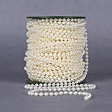 B&S FEEL 5mm Faux Pearl Beads Garland Pearl Bead Roll Strand for Wedding Party Decoration, 99 Feet Roll, Ivory