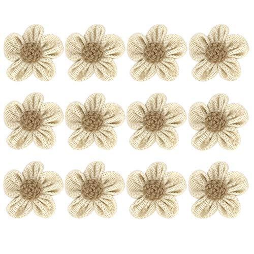 12pcs Handmade Burlap Flowers Rustic Lace Rose for DIY Craft Wedding Decoration (item6)