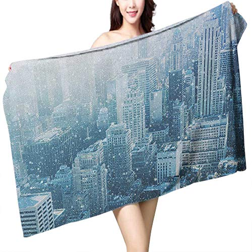 Perfectble Popular Bath Towels Winter Snow in New York City Image Skyline with Urban Skyscrapers in Manhattan USA W10 xL39 Suitable for bathrooms, Beaches, Parties