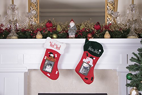 Puppy Dog Hanging Christmas Stocking | For Kids & Adults | 4''x5'' Picture Frame | Red & White Woof Woof Holiday Decor Theme | For Small Gifts, Stocking Stuffers, & Candy | 18.5'' Tall by Clever Creations (Image #3)