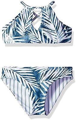 Splendid Girls Crisscross High Neck Bikini Top and Retro Bottom Swimsuit Set