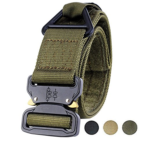 Fairwin Tactical Rigger's Belt, Military Style Webbing Riggers Nylon Web Belt with Heavy-Duty Quick-Release Metal Buckle and Triangular D-Ring (Military Green, for Waist 37″-40″)